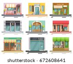 cafe flat collection of nine... | Shutterstock .eps vector #672608641