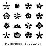 flower icon set vector... | Shutterstock .eps vector #672611434