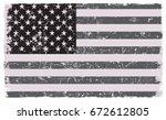 grunge usa flag.vector american ... | Shutterstock .eps vector #672612805