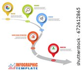 design template  road map... | Shutterstock .eps vector #672612865