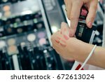 closeup of woman hand choosing... | Shutterstock . vector #672613024