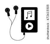 contour mp3 with headphones to... | Shutterstock .eps vector #672615505