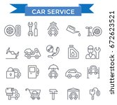 car service icons  thin line... | Shutterstock .eps vector #672623521