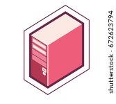 iconic simple desktop computer... | Shutterstock .eps vector #672623794