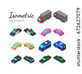 set of isometric city transport ... | Shutterstock .eps vector #672627079