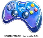 watercolor joystick. | Shutterstock . vector #672632521