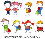 pupils boys and girls | Shutterstock .eps vector #672638779