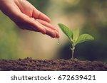 hands of farmer growing and... | Shutterstock . vector #672639421