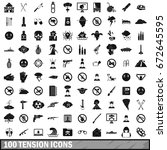 100 tension icons set in simple ... | Shutterstock . vector #672645595