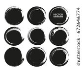 set of black circle abstract... | Shutterstock .eps vector #672646774