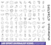 100 sport journalist icons set... | Shutterstock . vector #672647095