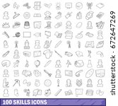100 skills icons set in outline ... | Shutterstock . vector #672647269