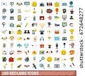 100 reclame icons set in flat... | Shutterstock . vector #672648277
