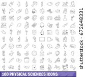 100 physical sciences icons set ... | Shutterstock . vector #672648331