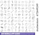 100 mobile app icons set in... | Shutterstock . vector #672649249
