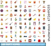 100 party icons set in cartoon... | Shutterstock . vector #672649255