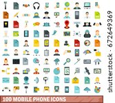 100 mobile phone icons set in... | Shutterstock . vector #672649369