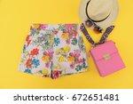 fashion. summer woman... | Shutterstock . vector #672651481