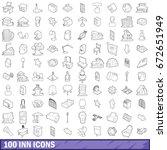 100 inn icons set in outline... | Shutterstock . vector #672651949