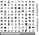 100 coherence icons set in... | Shutterstock . vector #672654955