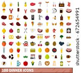 100 dinner icons set in flat... | Shutterstock . vector #672654991