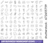 100 business workshop icons set ... | Shutterstock . vector #672655759