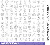 100 book icons set in outline... | Shutterstock . vector #672655885
