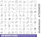 100 benefit icons set in... | Shutterstock . vector #672656035
