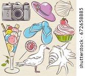 set of  summer symbols  ... | Shutterstock .eps vector #672658885