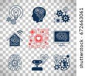 new technologies icons ... | Shutterstock .eps vector #672663061