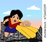 superhero woman cartoon... | Shutterstock .eps vector #672665209