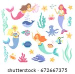 underwater life collection.cute ... | Shutterstock .eps vector #672667375