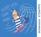surfing with shark vector... | Shutterstock .eps vector #672669991