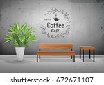 vector tropical tree in cement... | Shutterstock .eps vector #672671107