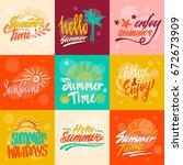 hello summer calligraphy | Shutterstock .eps vector #672673909
