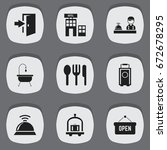 set of 9 editable motel icons....