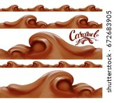 liquid chocolate  caramel or... | Shutterstock .eps vector #672683905