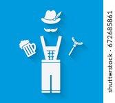 man in national dress with beer ... | Shutterstock . vector #672685861