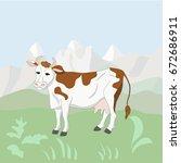 vector of cow grazing on... | Shutterstock .eps vector #672686911
