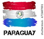 flag of paraguay from brush... | Shutterstock .eps vector #672687001
