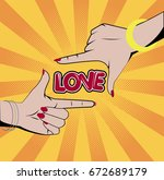 woman hands photo frame. vector ... | Shutterstock .eps vector #672689179