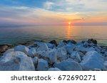sunrise in porto vathy. thassos ...   Shutterstock . vector #672690271
