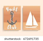 yacht club cards. sailboat in... | Shutterstock .eps vector #672691735