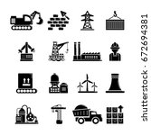 industry icons set. simple... | Shutterstock . vector #672694381