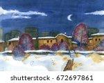 night scene of downtown in... | Shutterstock . vector #672697861
