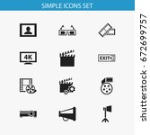 set of 12 editable cinema icons.... | Shutterstock .eps vector #672699757