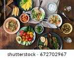 Vegetarian Food Concept. Set O...