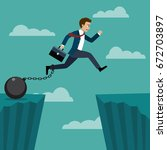 businessman jumped over a cliff ... | Shutterstock .eps vector #672703897