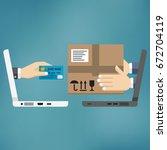 online shopping concept. fast... | Shutterstock .eps vector #672704119