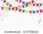 colorful party flags with... | Shutterstock .eps vector #672708331